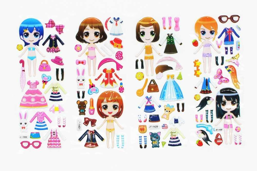 5 шт./партия, платье, объемные наклейки, милые наклейки для девочек, платье для девочек, одежда для переодевания, детский креативный подарок, YYY WYQ