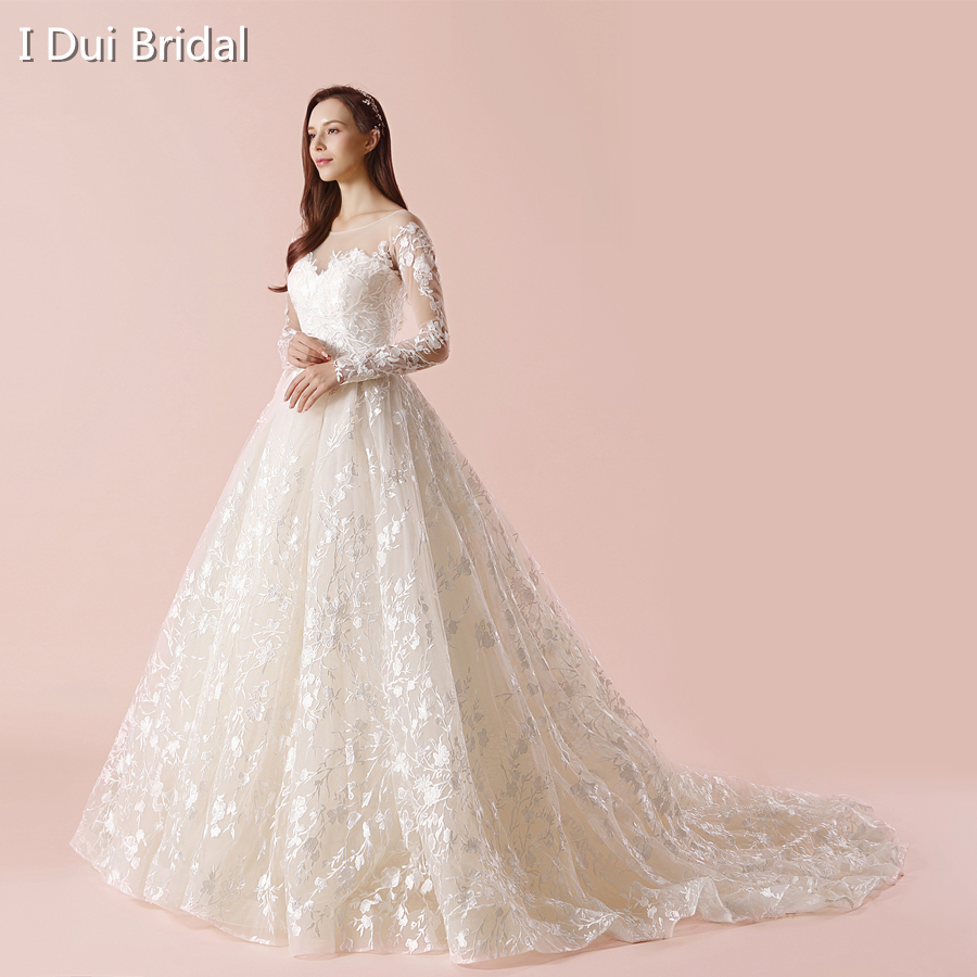 2018 New Wedding Dresses Lace Ball Gown Long Sleeve Real Photo High ...
