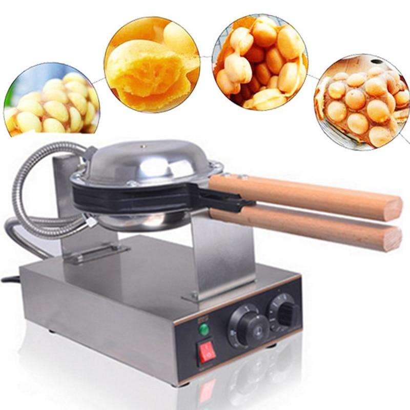 все цены на Electric Commercial Eggettes Waffle Maker Hong Kong Egg Bubble Waffle Maker Iron Eggettes Baker Machine Round Waffle Pan онлайн