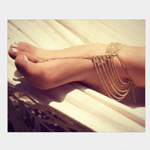 2015 Hot sales*New Beach Fashion Multi Tassel Toe Bracelet Chain Link Foot Jewelry Anklet Free Shipping