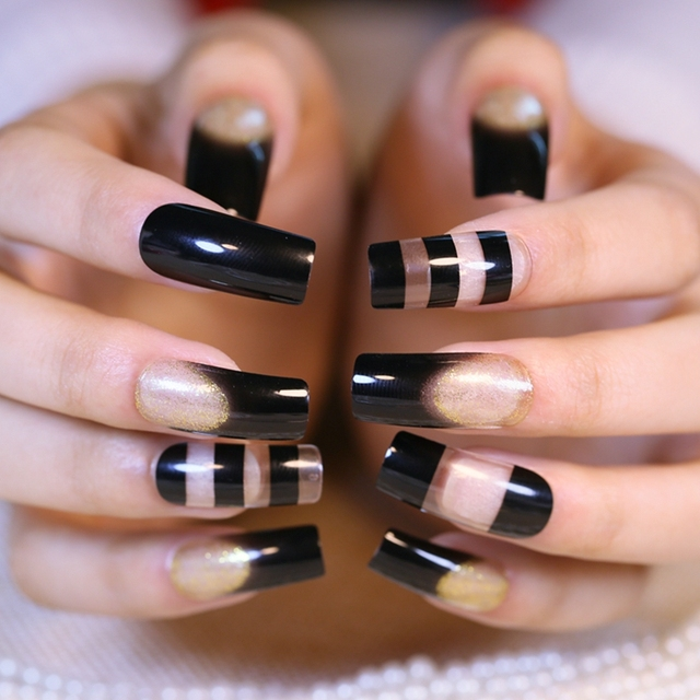 Super Long French Acrylic Nails Transpa Black Nail Art Tips Square Top Manicure Accessories 24pcs