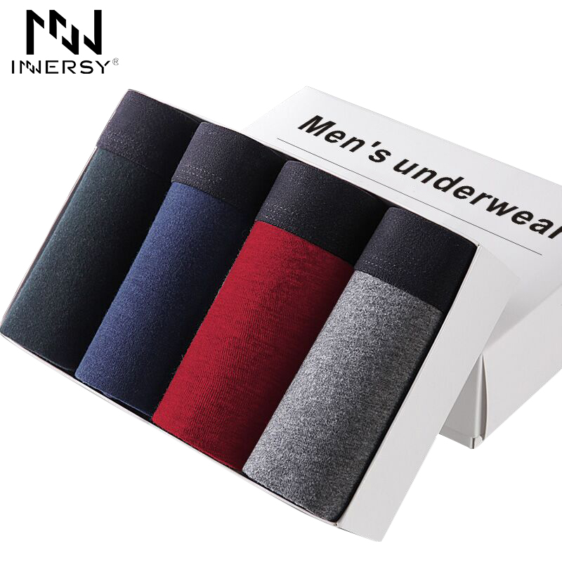 Innersy Shorts Mens 4Pcs\lot Underwear Soft Boxers Cotton Boxer Men Solid Boxer Shorts Plus Size Boxers Mens Underwear Lot|boxer shorts|men underwear lotshorts men - AliExpress