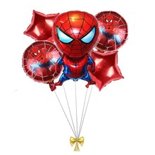 5 Pcs Spider-Man Balloons 18 Inch Round And Red Five Star Foil Globos Superhero Birthday Party Decoration Childrens Gifts