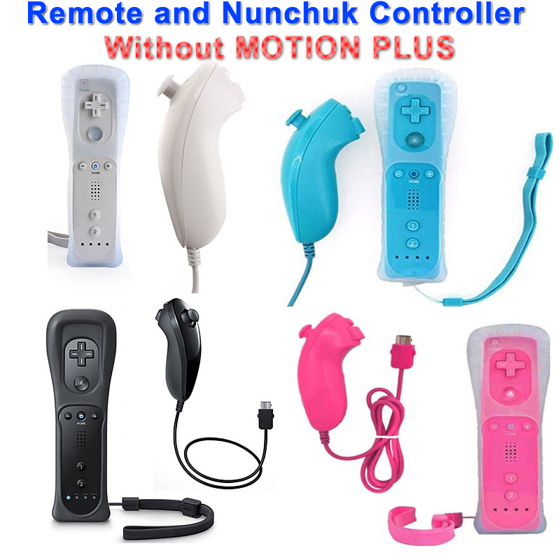 New Remote and Nunchuk Controller Wireless GamePad Controllers Set with Protective Silicone Case for Wii White