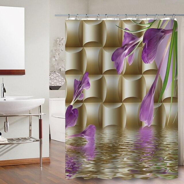 FOKUSENT di Alta Qualità Bello Rosso e Blu, Rosa Crisantemo Tessuto In Poliestere Bagno 3D Impermeabile Tende da Doccia
