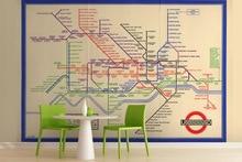 Ücretsiz kargo Vintage Londra Yeraltı Haritası Duvar fotoğraf 3D duvar kağıdı şehir