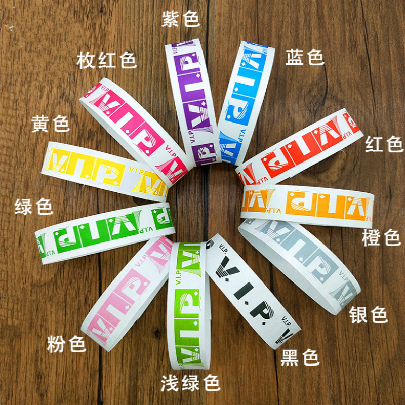100 Pieces Waterproof Disposable Tyvek Paper Wrist Band Toy For Events Swimming Plain Color Cheap Tyvek Paper Wristband Toy