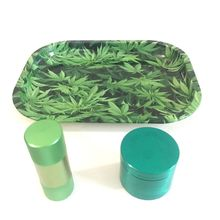 Green Tray + Green Pollen Press + Green Herb Grinder High Quality Set for Weed Tobacco Smoke Water Pipe Glass Bong Hot Sale weed control study in rainy green gram vigna radiata l wilczek