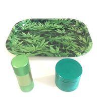 Yeşil Tepsi + Polen Basın + Yeşil Ot Değirmeni Yüksek kalite Weed Tütün Duman Su Borusu Cam için Set Sıcak satış