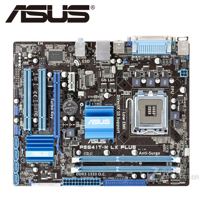 Asus P5G41T-M LX PLUS Desktop Motherboard G41 Socket LGA 775 Q8200 Q8300 DDR3 8G u ATX UEFI BIOS Original Mainboard On Sale asus p5ql cm desktop motherboard g43 socket lga 775 q8200 q8300 ddr2 8g u atx uefi bios original used mainboard on sale