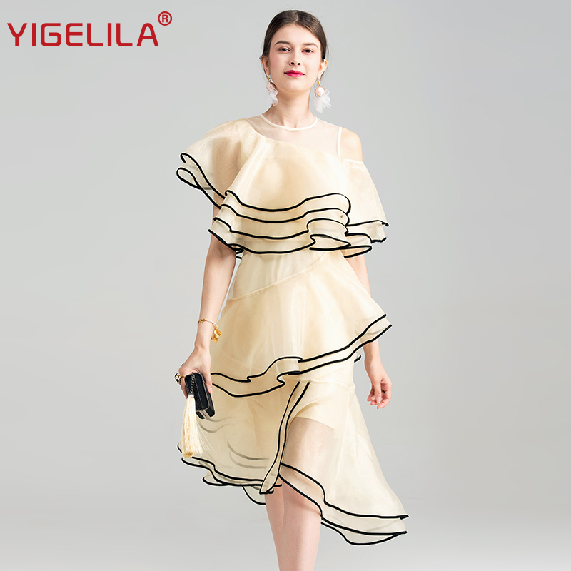 YIGELILA 2019 Summer Women Fashion O-neck Butterfly Sleeve Empire Mid Length Irregular Ruffles Long Dress For Fashion Week 62842