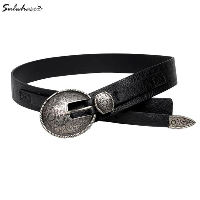 A forma Das Mulheres Cinto Largo de couro Retro De prata do Metal Fivela de Cinto De Couro da senhora cintura decoração