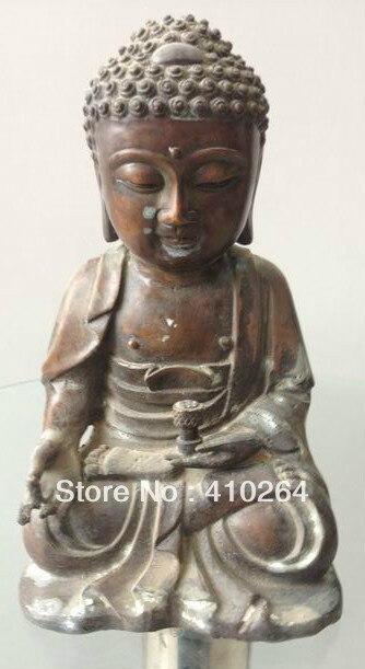 [Nice Discount ]  Chinese Old Wonderful Buddha Meditation Bronze Antique Exquiste Statue