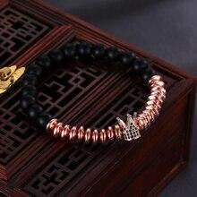 HOBBORN Trendy Charm Women Bracelet Handmade Strand Matte Black Onyx Micro Pave CZ Crown Healing Unisex Bracelets Yoga Jewelry