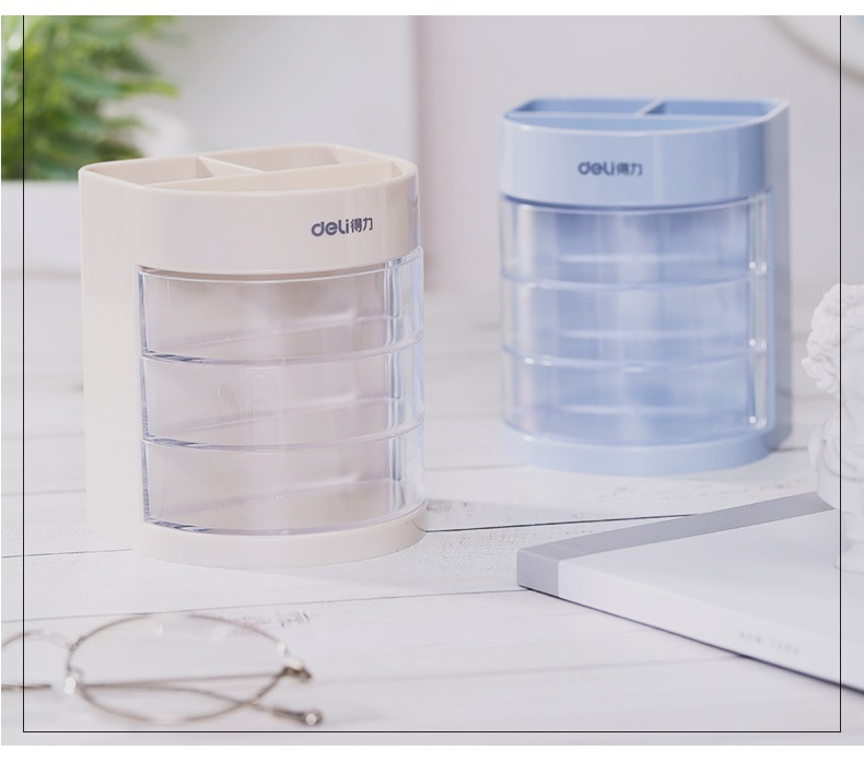 Купить с кэшбэком Mini white blue color pen holder Multi drawer storage box organizer gift Stationery office accessories School supplies F068