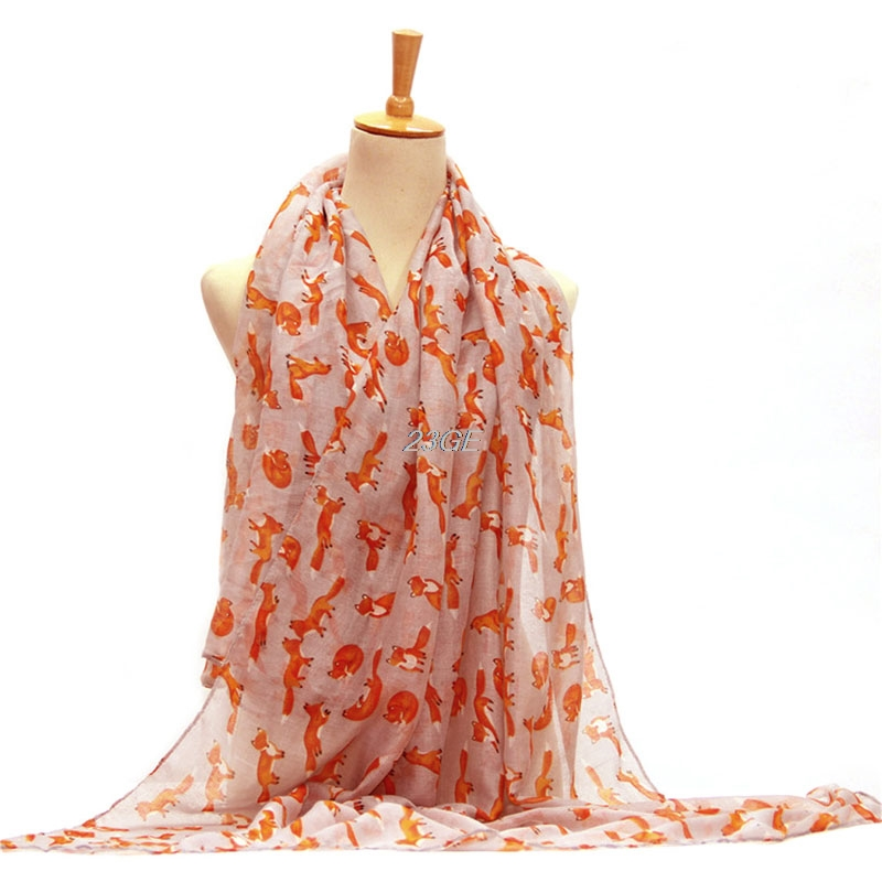 2017 Fashion Women Chiffon   Scarf   Fox Printed Silk Long Soft   Scarf   Shawl   Scarves     Wrap   MAR27_17