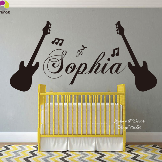 Custom Name Guitar Music Note Wall Sticker Girls Room Personalized Name Musical  Note Wall Decal Kids Part 72