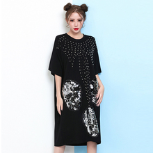 Women Fashion Skull Sequins Dress Mini Short Goth Gothic Crew Neck Short Sleeeve Summer Rivets Shirtdress Loose Baggy Casual