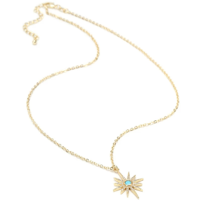 CZ-Starburst Pendant Paved Bling Cubic Zircon 2019 Trendy Pendant Necklace Women (2)