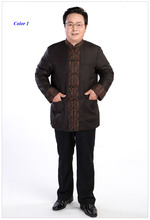 Новое поступление gambiered китайском стиле зимняя куртка мужчины, 100% wateredgauze шелковый мужской тан-костюм ватные куртки, Шелковый мужчины парка