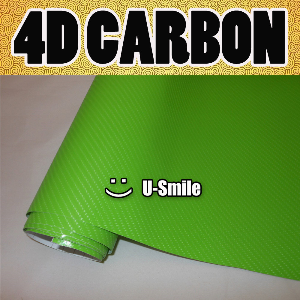 4D brillant vert Fiber de carbone autocollant autocollant housse de voiture en vinyle sans bulle pour les enveloppes de véhicule taille: 1.52X30 M/Roll