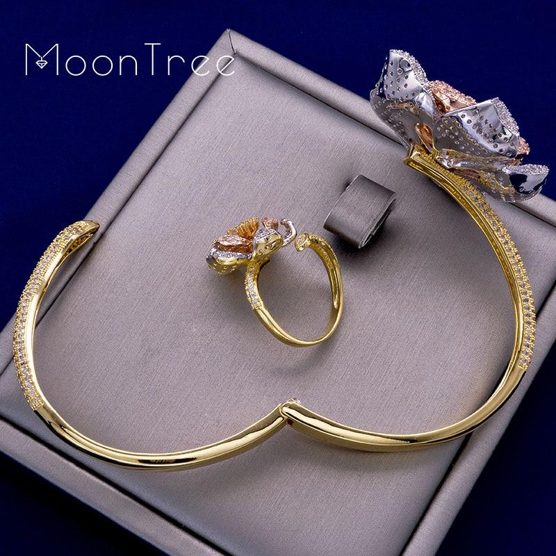 MoonTree mode luxe fleur luxe strass mariage bijoux ensembles trois couleurs couche cuivre tresse forme anneau bracelet ensemble-in Parures de bijoux from Bijoux et Accessoires    2