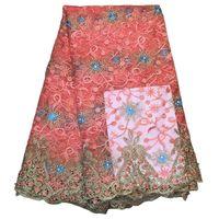Alta calidad guipure bordado africano Encaje Telas para el vestido nuevo tulle Encaje rhinestone nigeriano Encaje Telas s e917110801