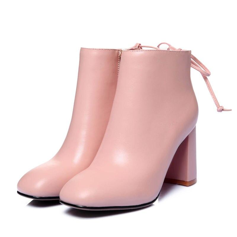 Automne Top noir Haute Cuir Beige Femmes Nouvelle Véritable rose Mode Style 2018 Qualité Arrivée De Cheville En Smeeroon Talons Bottes nwPk0O