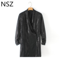 Women Sequins Blazer Dress Shiny Double Breasted Black Blazer Elegant Suit Jacket Dress Rolled up Sleeves Snap button Coat