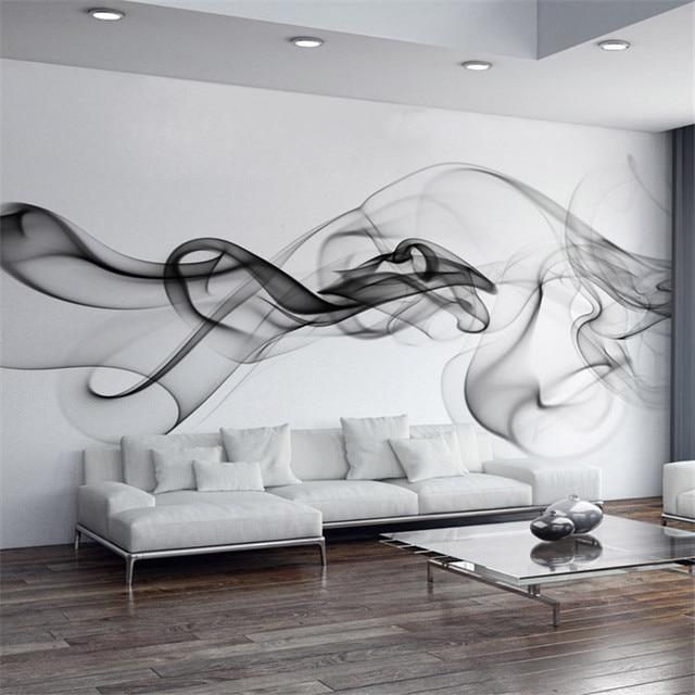 Custom Photo Wallpaper Modern 3D Wall Mural Black White Smoke Fog Art Design Bedroom Office