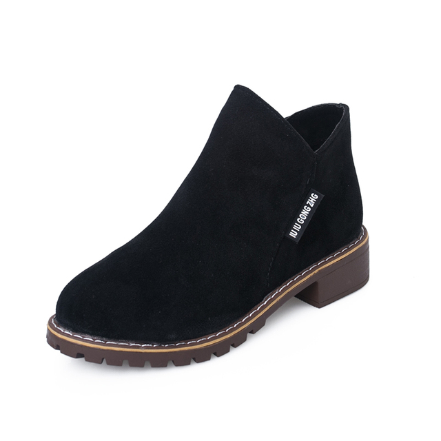 IMKKG Female Fashion Slip On Low Heel Sewing Flock Platform Ankle Boots 2017 Women's Casual Comfortable Style Black Shoes V228