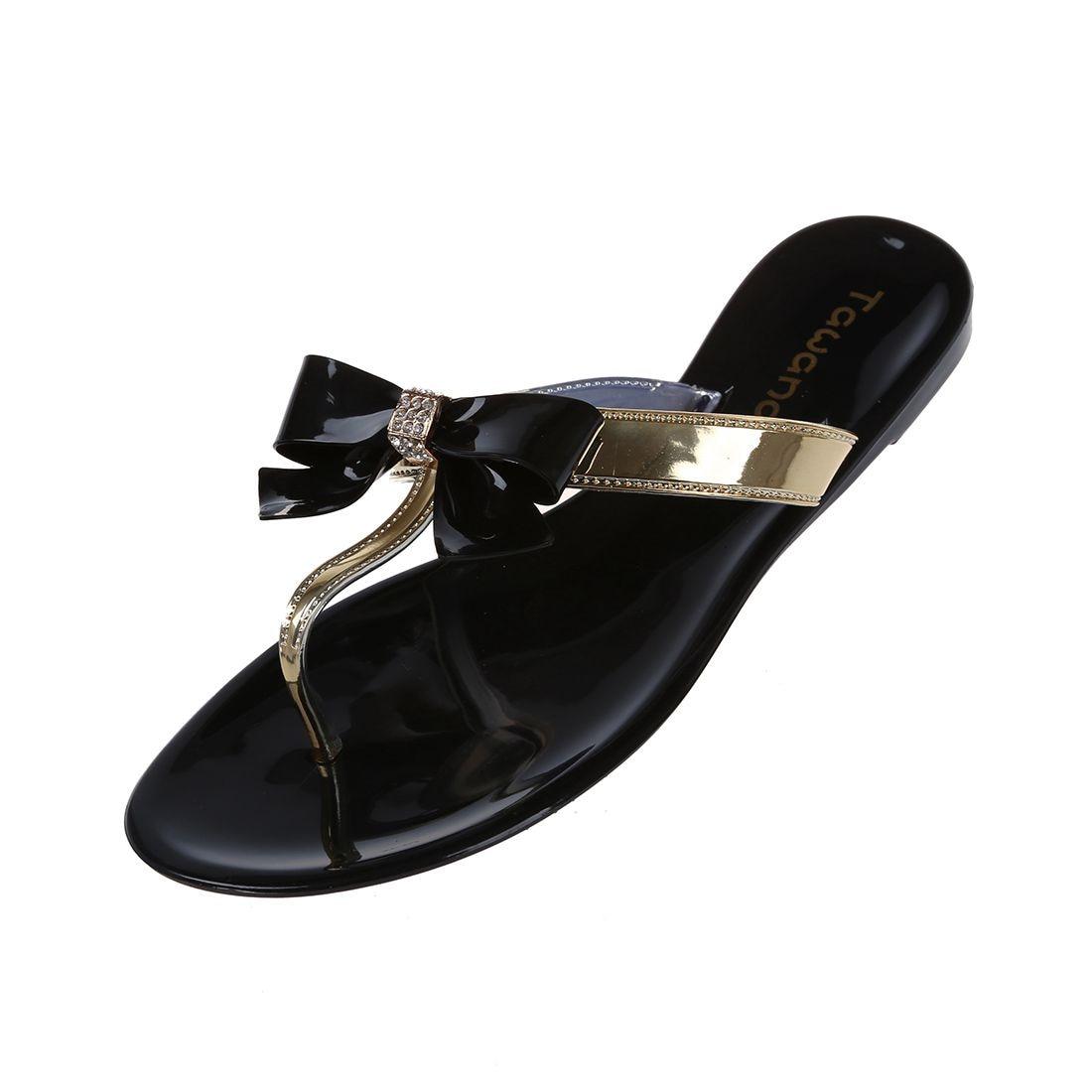 TAWANA Womens Ladies Toe Bow Diamante Jelly Summer Flat Flip Flop Thong Sandals