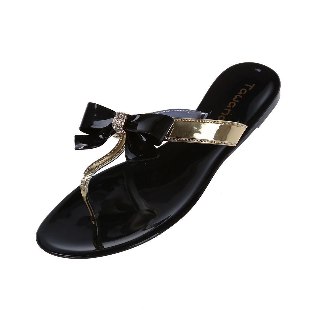TAWANA Womens Ladies Toe Bow Diamante Jelly Summer Flat Flip Flop Thong Sandals