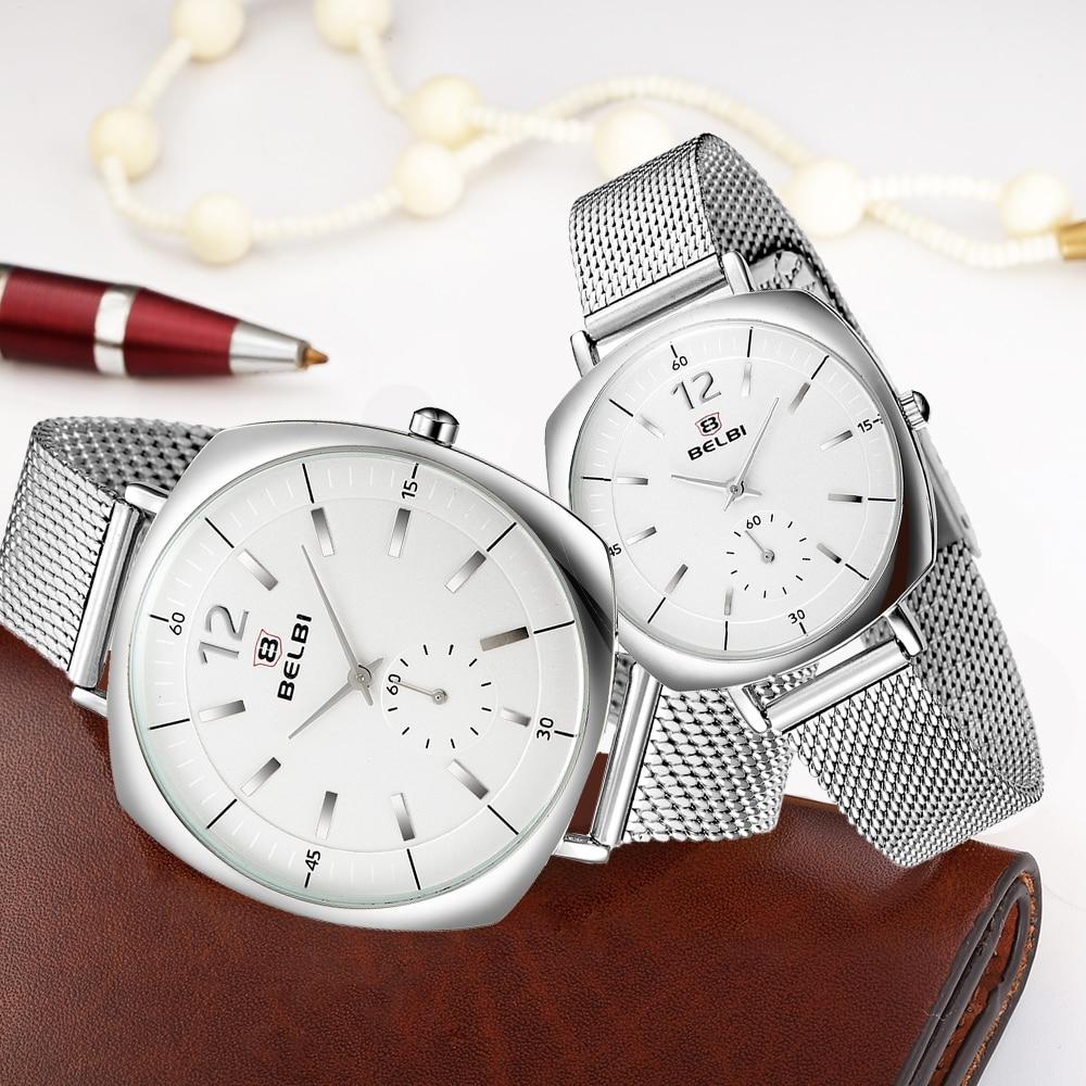 BELBI Luxury Lovers Couple Watches Men Waterproof Women Silver Stainless Steel Quartz Wristwatch Montre Homme