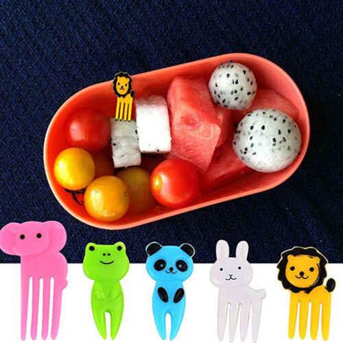 Limite de 100 Garfos de Frutas Pega Lancheira Mini Kids Animal Alimentos Picaretas Frutas Garfos Lancheira Acessório Decoração Ferramenta