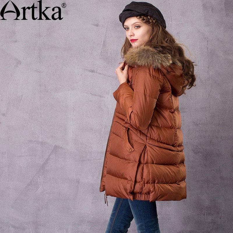 Artka Womens Floral Long Down Jacket Winter Coat with Detachable Raccoon Fur Hood