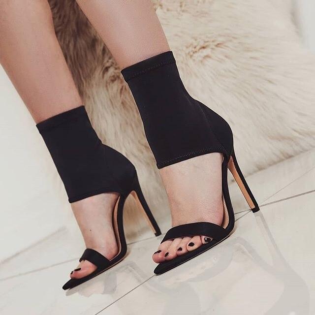 Sandales Noir Pompes Koovan Creux Chaussette Cool Tronçon Nouveau Hauts De À 2018 Black Bottes Personnalité Talons Haute Chaussures Femmes Tissu wqa14qI