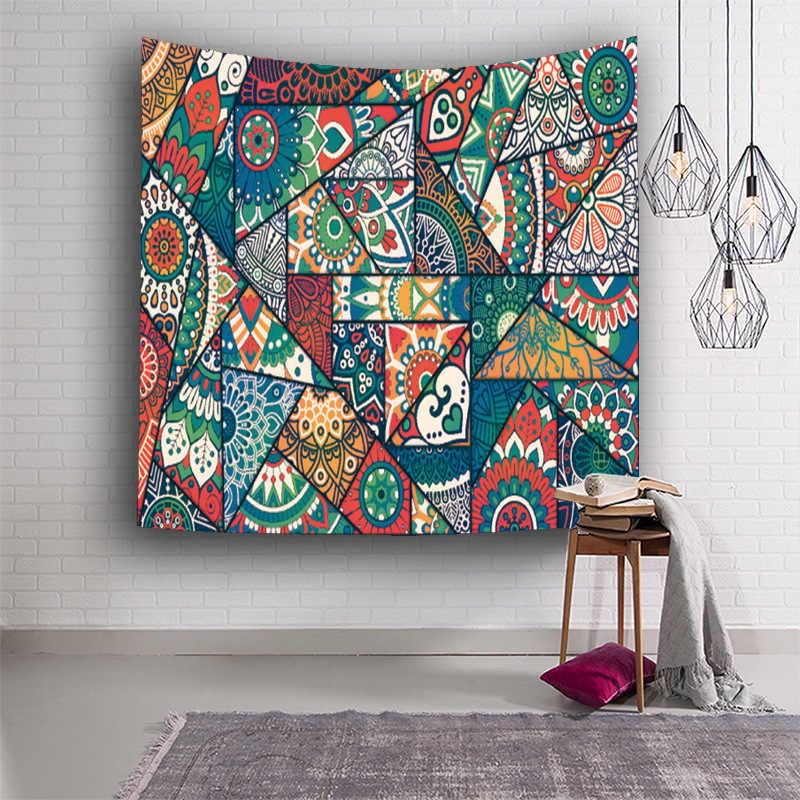 Indyjski obrusy dywany wiszące gobelin ścienny indyjski narzuty bawełna yoga tkaniny wystrój koc mata 150x130cm ściany dywan