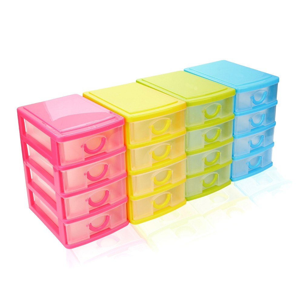 Four Color Durable Plastic Mini Desktop Drawer Sundries Case Small Objects Organization Box for Beads Pills Rings Jewelry Key