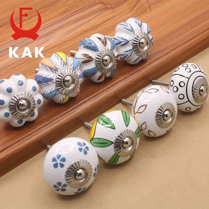 KAK 40mm Hand-painted Ceramic Drawer Knobs Porcelain Pumpkin Cabinet Knobs Cupboard Handles With Base For Kids Furniture Handle