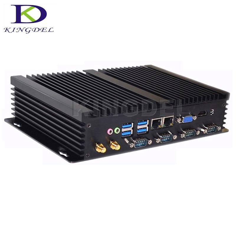 2017 Hot Fanless Barebone Industrial Computer Intel I5 3317U Celeron 1037U Dual Core Mini Desktop Dual LAN 4*RS232 HDMI VGA