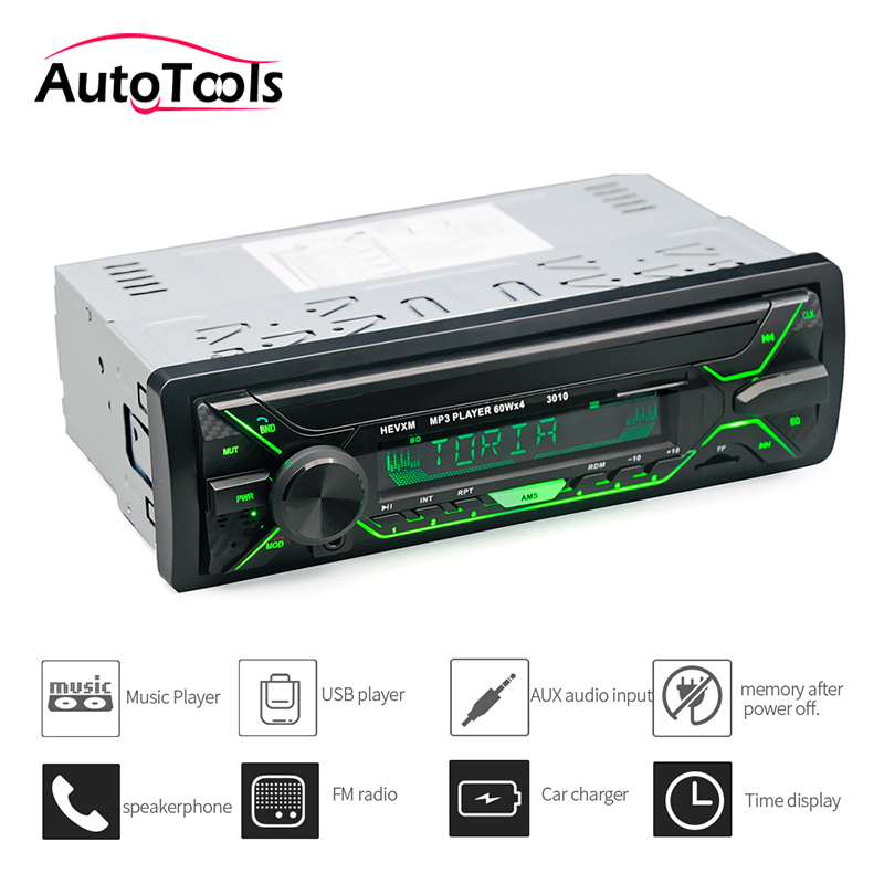 Stereo-Player Radio Car-Audio-Kit MP3 12V with AUX-IN Fm/Usb/1 Din/remote-Controller