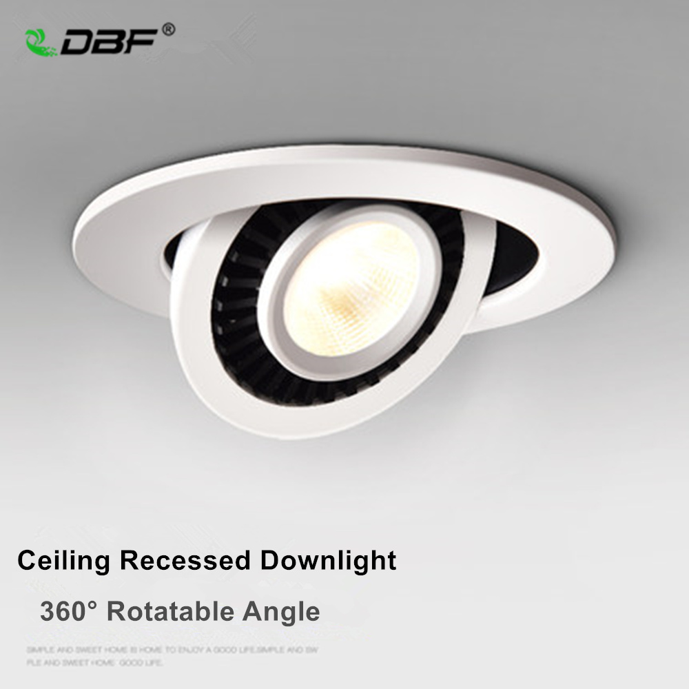 [DBF]Rotatable Angle LED Recessed Downlight 5W 7W 10W 15W 18W LED Ceiling Spot Light 3000K/4000K/6000K Black/White Housing Light