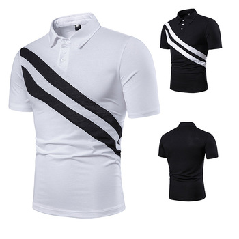 Men's short sleeve diagonal double stripe color matching fashion collocation cross-border lapels, men short sleeve POLO 2