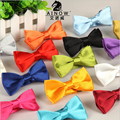 2017 New Lovely boyes Bow tie for Children kids Polyester Silk Plaid solid for wedding Butterfly Neckwear Candy colors wholesale