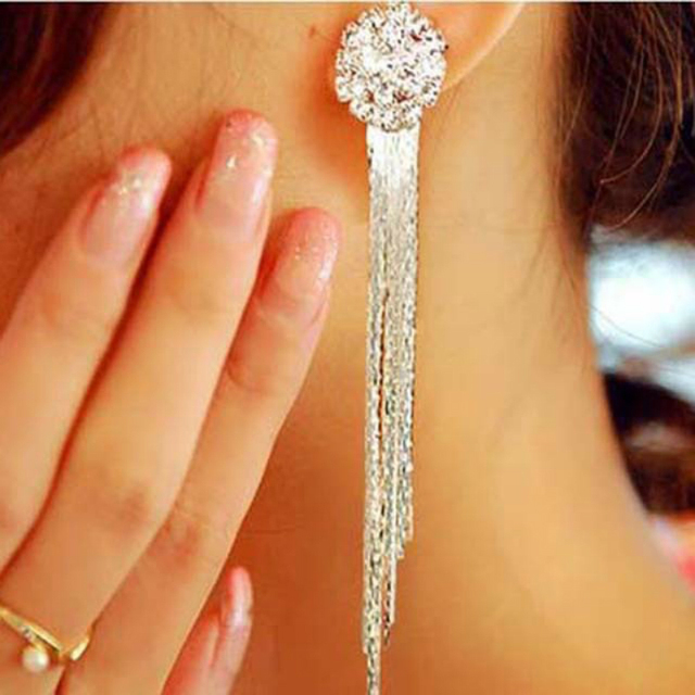 Long Crystal Tassel Bridal Earrings For Women