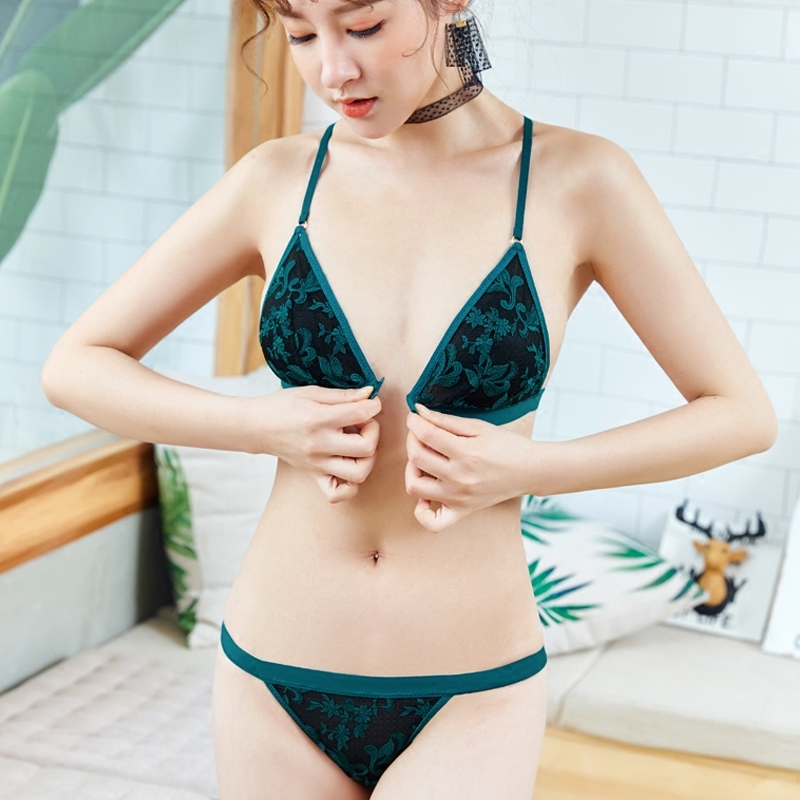 CINOON floral embroidery underwear   set   Ultra-thin bralette Transparent lingerie   bra     brief     sets   sexy lace intimate lingerie   set