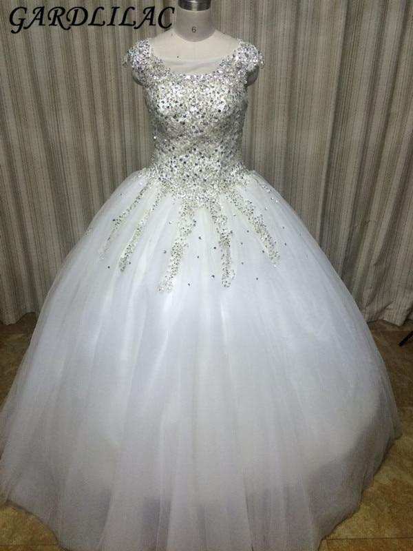 Gardlilac Tulle Biała Suknia Balowa Suknia ślubna z Frezowaniem 100% Prawdziwe vestido de noiva Zasznurować Bez rękawów Suknia ślubna
