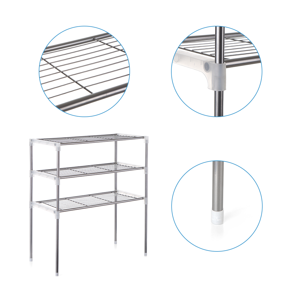 Image 5 - Multi functional Kitchen Storage Shelf Table Rack Microwave Oven Shelving Stainless Steel Adjustable  Kitchen Storage Holders-in Racks & Holders from Home & Garden