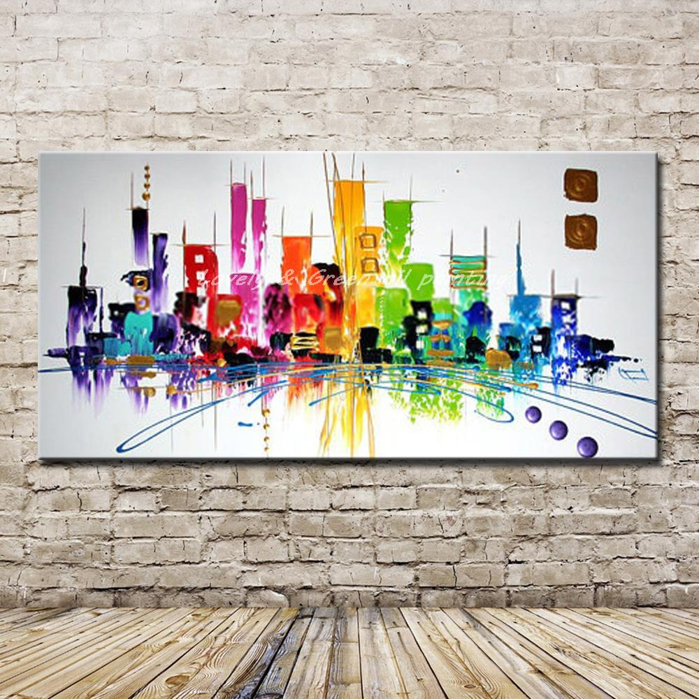 Hand-Draw Modern Wall Decor Art Abstract Oil Painting Canvas,City No Frame